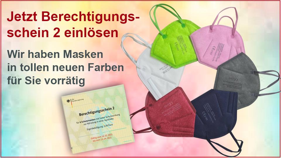 farbige FFP2 Masken - Berechtugungsschein jetzt einlösen